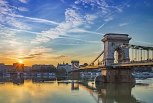 sunrise at Budapest city and Chain Bridge - Budapest - Hungary